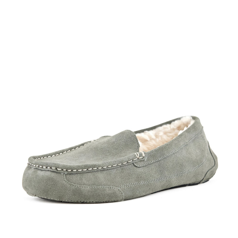 Men's Slippers - Toasty Suede Fur Lined Moccasin Loafer Shoes Grey