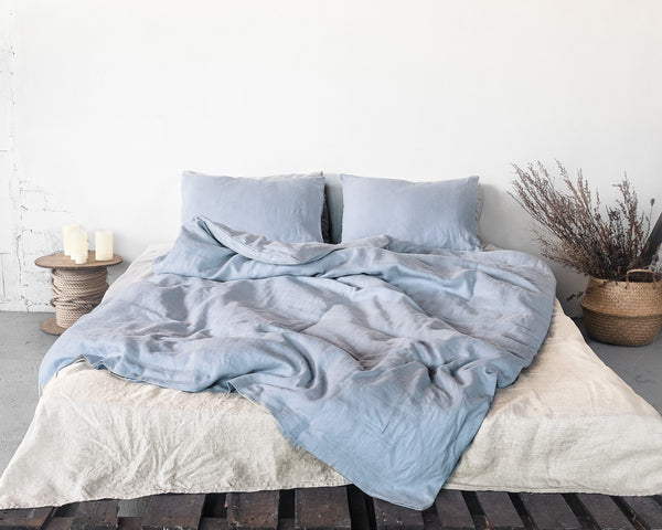 Pure Elegance Ice Blue Linen Bedding Set