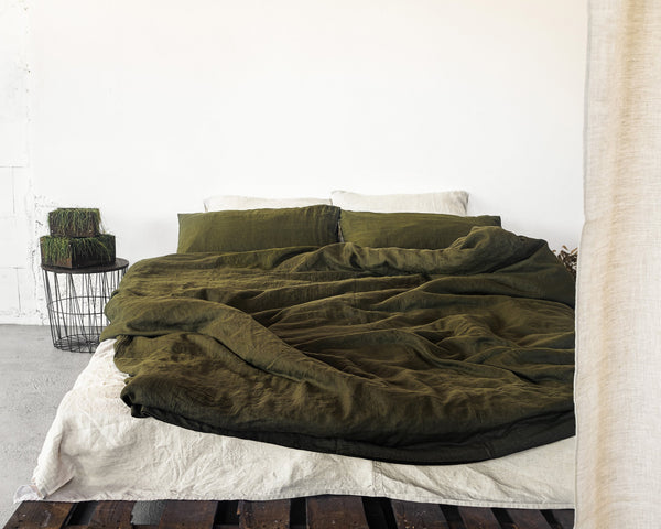 Pure Elegance Moss Green Linen Bedding Set
