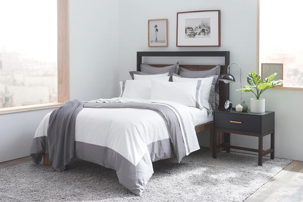 Pure Elegance 100% Supima Cotton, 500 Thread Count Sateen Banded Hotel Duvet Set