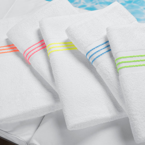 Hotel Stripe Border Pool Towel