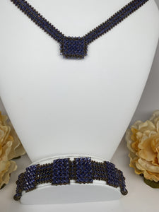 Hand Made Swarovski Crystal  Tanzanite Necklace