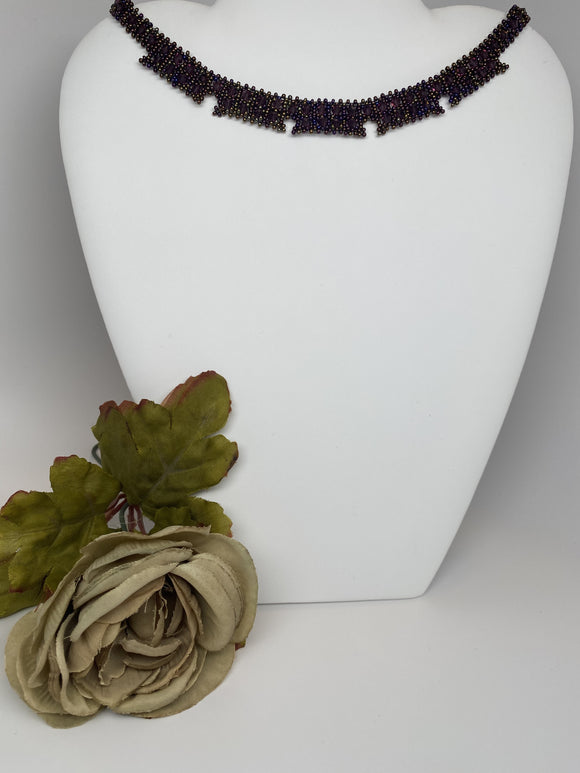 Hand Made Swarovski Crystal Amethyst Round Necklace