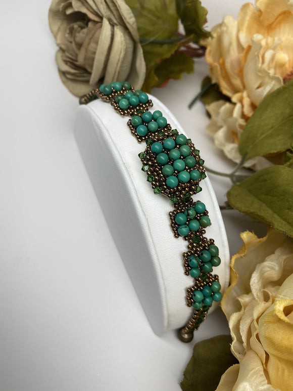 Hand Made  Swarovski Crystal and Natural Turquoise Stones Bracelet