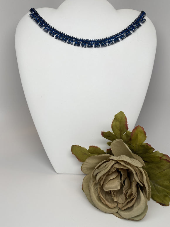 Hand Made Swarovski Crystal Dark Blue Necklace with Magnetic Clasp.