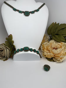 Hand Made Swarovski Crystal and Natural Turquoise Stones Necklace Bracelet   Set