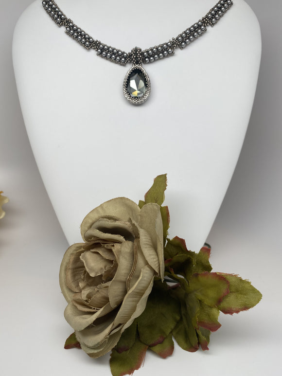 Hand Made Swarovski Crystal Silver Pearl  and Black Diamond  Faceted Pear  Fancy Stone Necklace