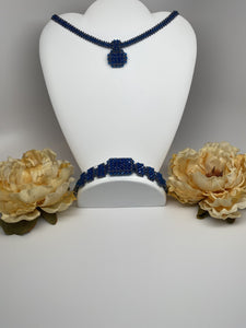 Hand Made Swarovski Crystal Blue Bracelet Necklace Set