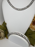 Hand Made Swarovski Crystal and Natural Silver Shade  Stone Bracelet Necklace Set