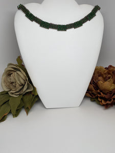 Hand Crafted Swarovski Crystal Necklace  18'' Made by Swarovski Crystals   4mm and 3mm Fern green xilion Bicone Beads and 14mm Round Magnetic Clasp