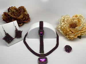Hand Made Swarovski Crystal Handcrafted  Necklace Bracelet Earring Set