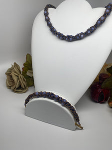 Hand Crafted Swarovski Crystal and Natural Stone Necklace Bracelet Set