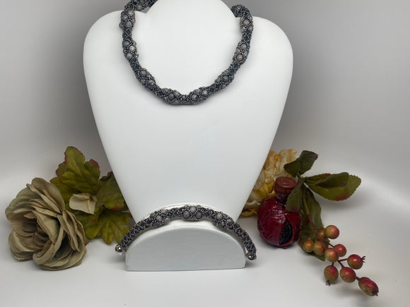 Hand Crafted Swarovski Crystal and Natural Stone Necklace Bracelet