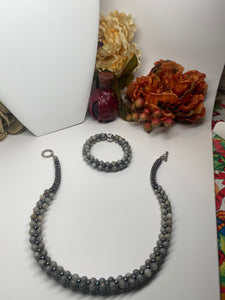 Hand Crafted Natural Stone Necklace and Bracelet Set