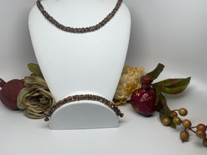 Hand Made Swarovski and Natural Stone  Necklace Bracelet Set