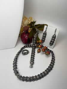 Hand Made Swarovski Crystal and Natural Agate Necklace Bracelet and Earring Set