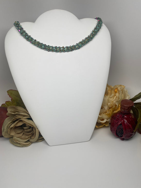 Hand Made  Swarovski Crystal and River Shell Necklace