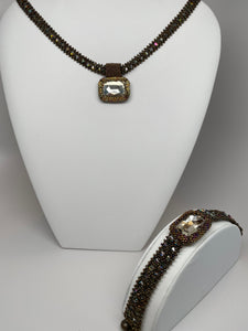 Hand Made Swarovski Crystal Silver Shade  Necklace and Bracelet Set