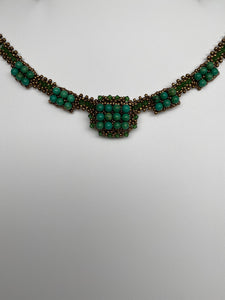 Hand Crafted Swarovski Crystal and Natural Turquoise Stones Necklace