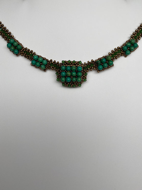 Hand Made Swarovski Crystal Green Shade Necklace