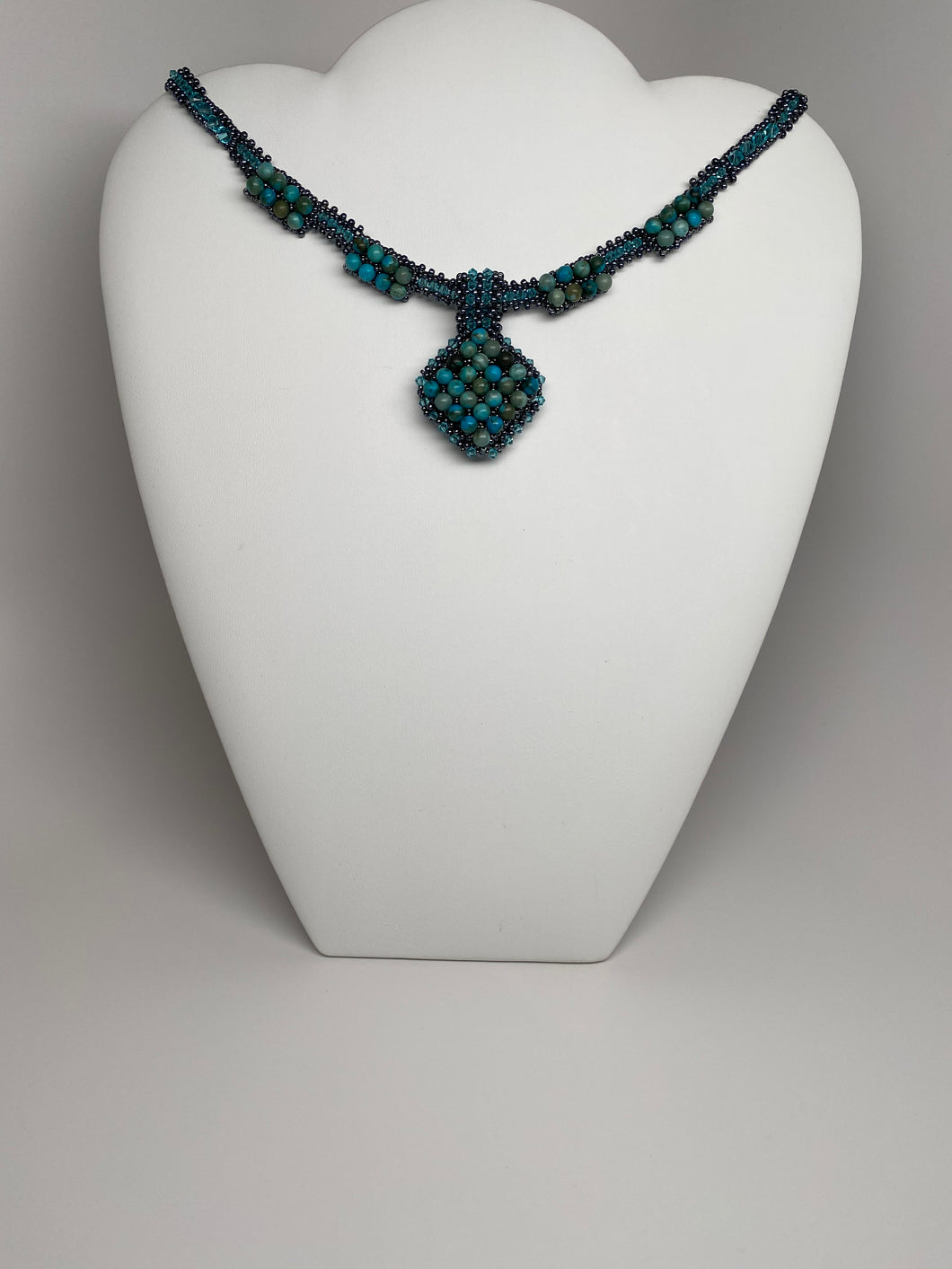 Hand Crafted Swarovski Crystal and Natural Stone Jasper Necklace