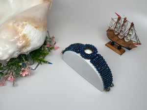Hand Crafted Swarovski Natural Stone River shell  7'' Bracelet