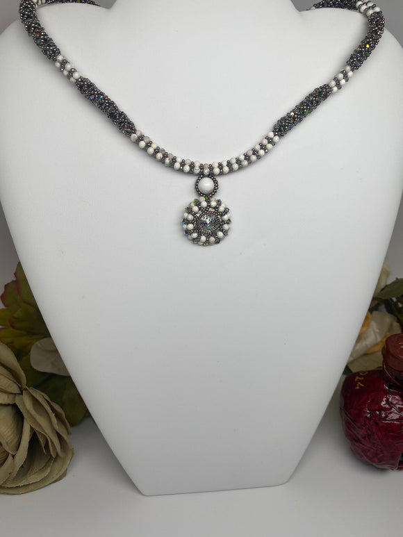 Hand Made Swarovski Crystal White Howlite Necklace