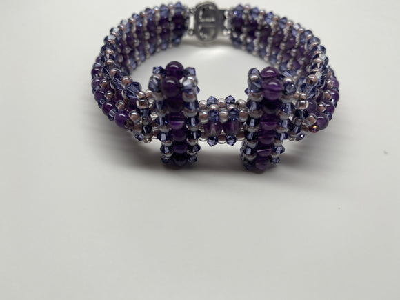 Hand Crafted Swarovski Crystal and Natural Stone Amethyst Bracelet 7''