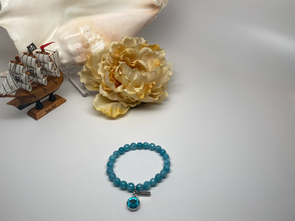 Handmade Swarovski Rivoli Stone with Birthday Mouth December and Natural Stone Light Blue Agate  7''-8'' Bracelet