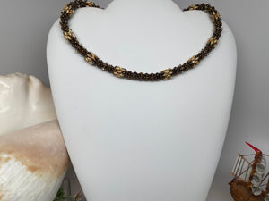Hand Crafted Swarovski Crystal and Natural Stone Tiger Eye Necklace 18.5''