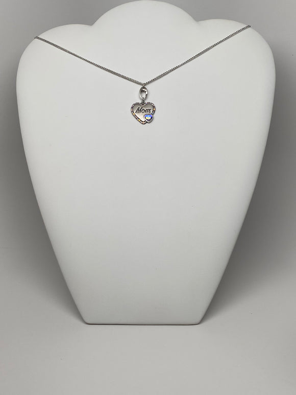 Swarovski Crystal 18''Necklace with Mom Heart Charm Pendant Perfect For Gift