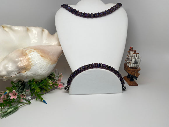 Hand Made Amethyst Swarovski Crystal and Amethyst Agate Necklace  18'9'' Bracelet 8''