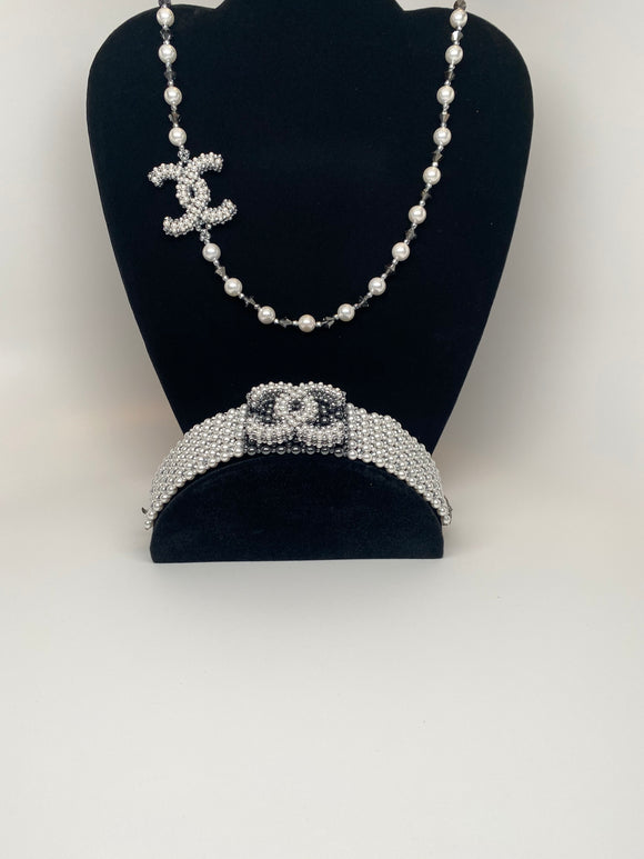 Hand Made Swarovski Crystal White  Pearls   Necklace  30'' Bracelet 7''Set