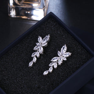 Crystal Flower Drop Earrings - Jewels Lane Co.