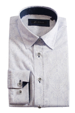 Premium Paisley Long Sleeve Shirt - APUS - White