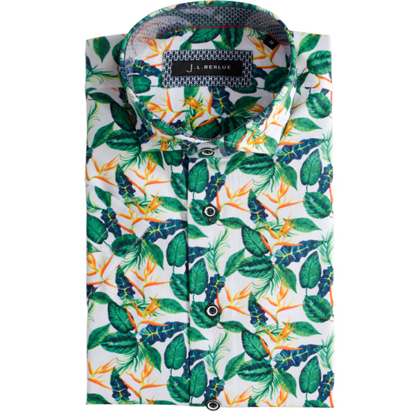 Premium Leaf Print Short Sleeve Shirt - BUN - White