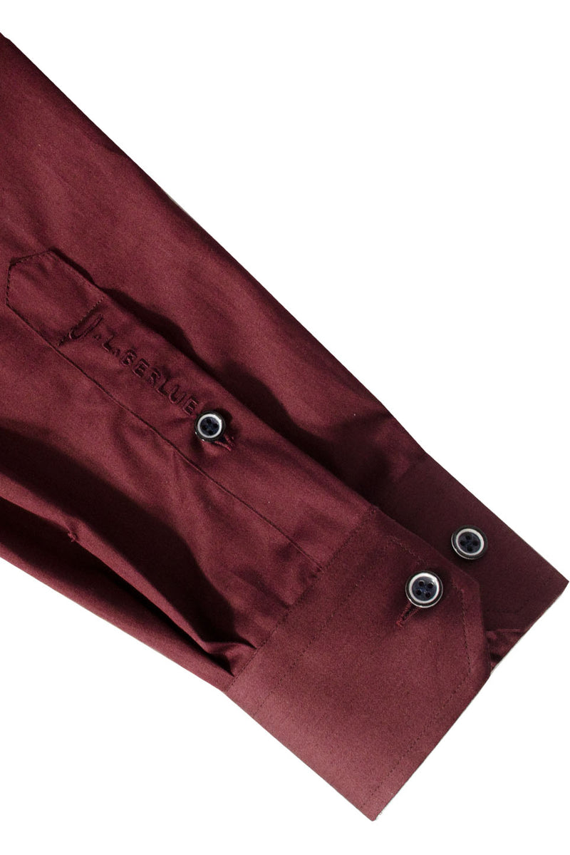 Premium Cotton Sateen Long Sleeve Shirt - CHEST - Burgundy