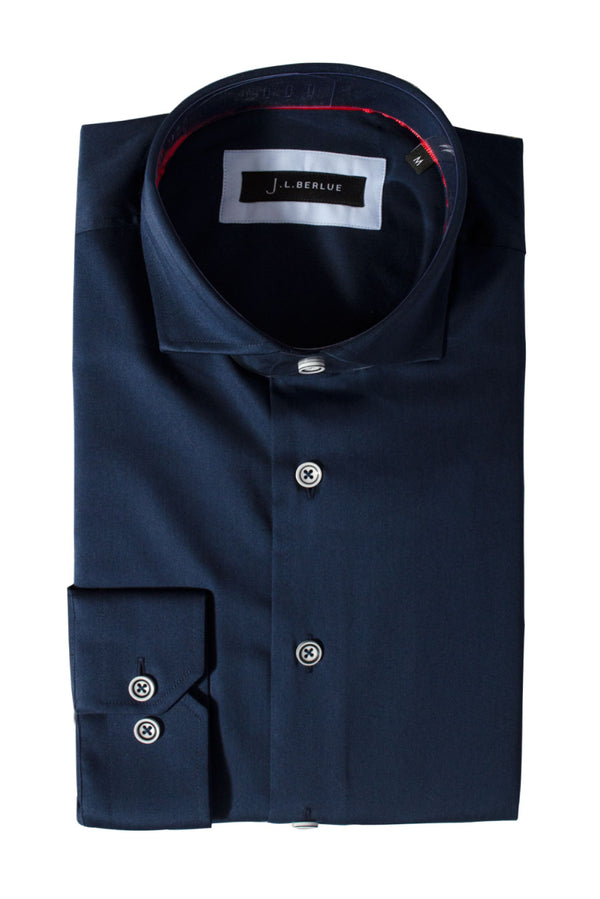 Premium Cotton Sateen Long Sleeve Shirt - CHESTER - Navy