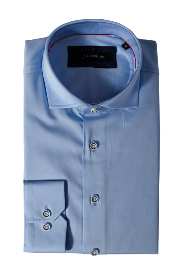 Premium Cotton Sateen Long Sleeve Shirt - CHESTER - Sky