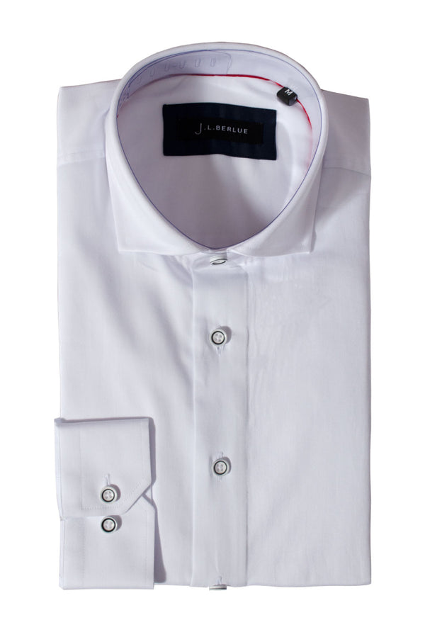 Premium Cotton Sateen Long Sleeve Shirt - CHESTER - White
