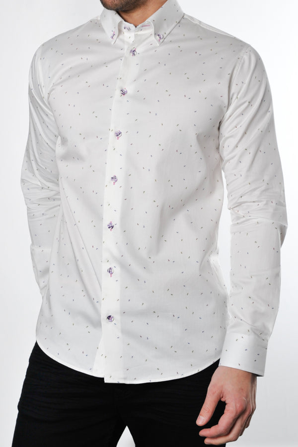 Premium Ant Print Long Sleeve Shirt - CHORUS - White