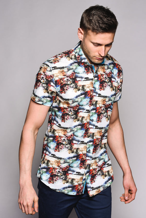 Premium Tropical Short Sleeve Shirt - COSTA - White