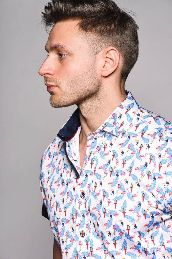 Premium Bird Print Short Sleeve Shirt - CUBAN - White