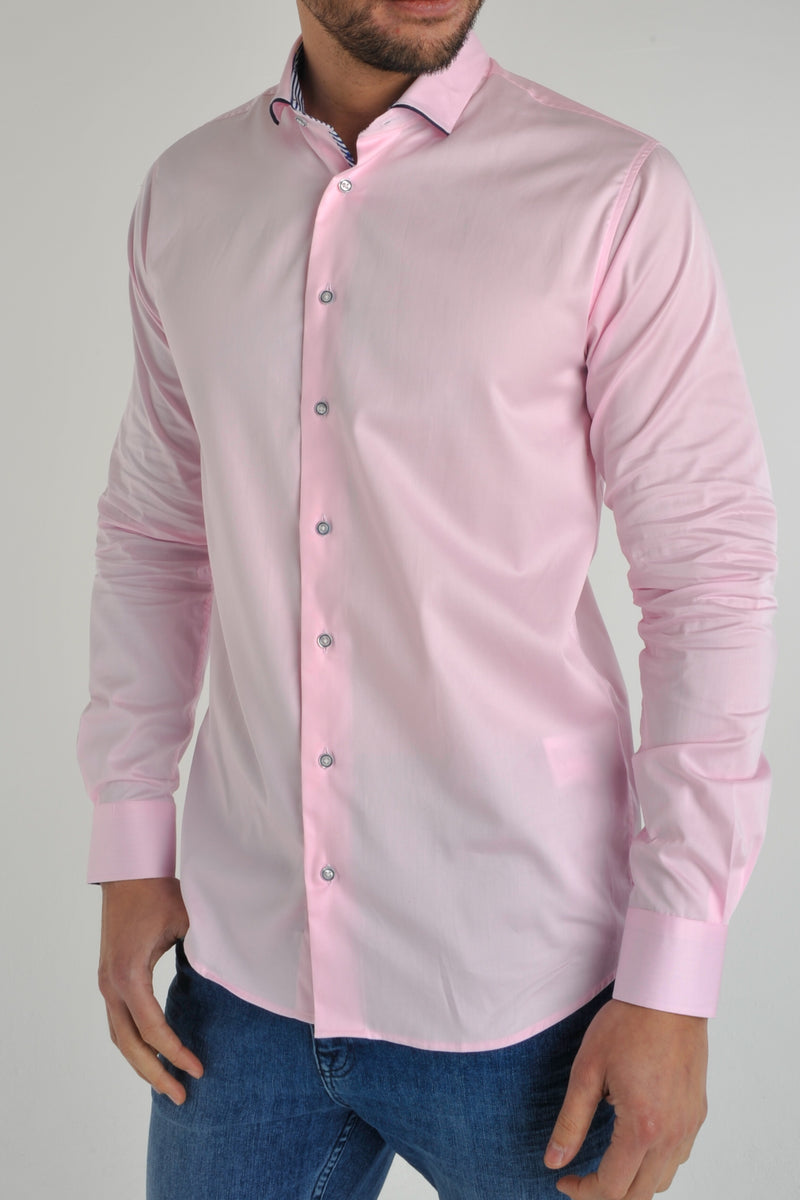 Premium Cotton Sateen Long Sleeve Shirt - DAYTON - Pink