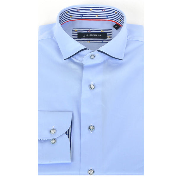 Premium Cotton Sateen Long Sleeve Shirt - DAYTON - Sky