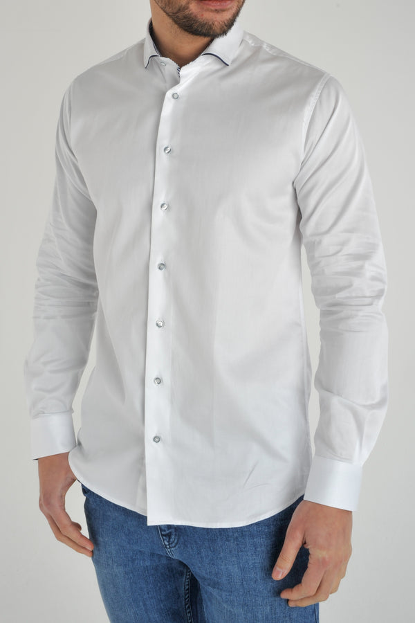 Premium Cotton Sateen Long Sleeve Shirt - DAYTON - White