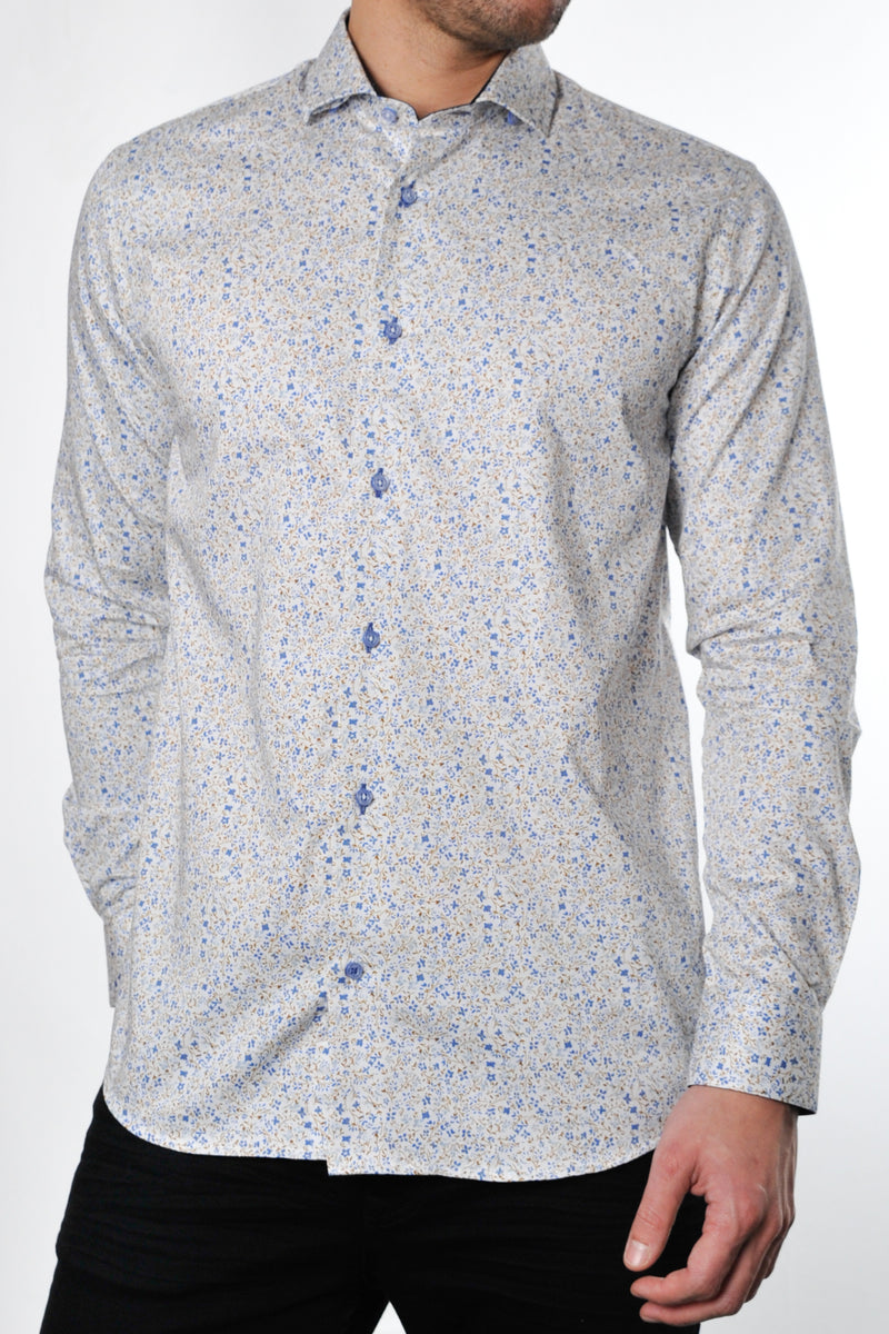 Premium Ditsy Floral Long Sleeve Shirt - DUSK - White