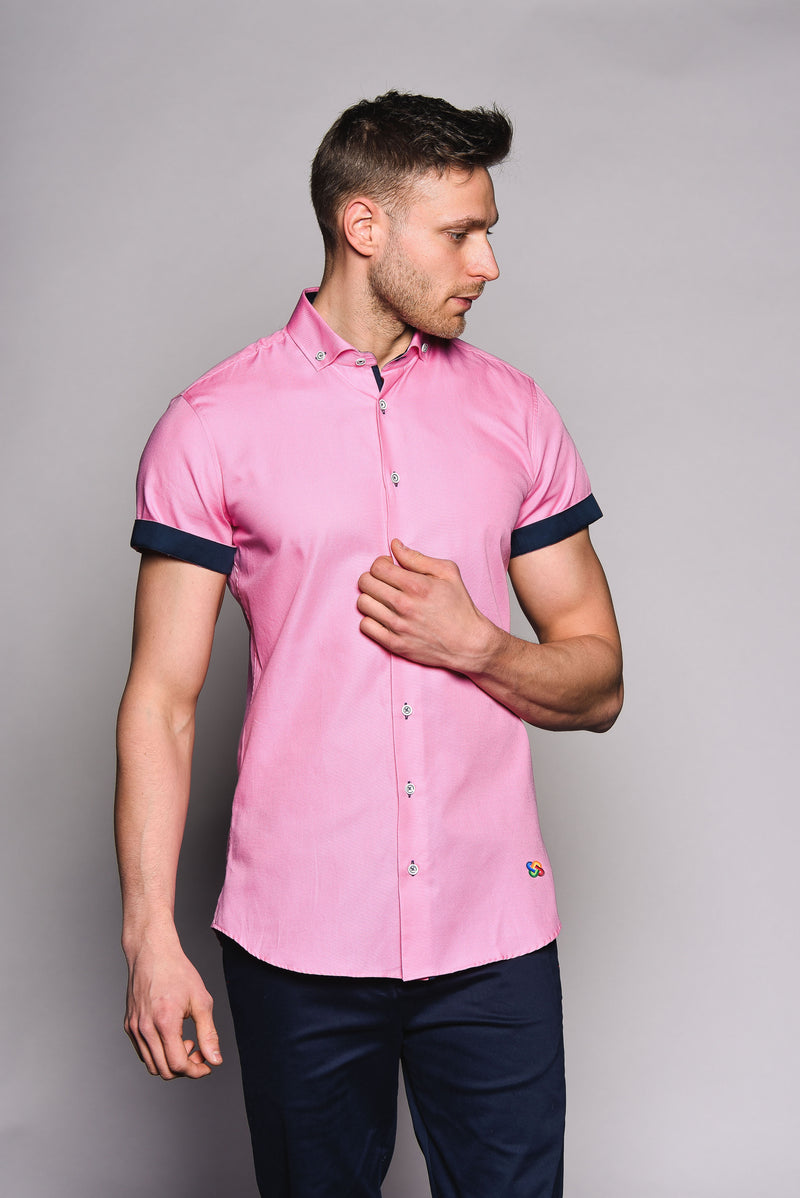 Premium Oxford Short Sleeve Shirt - DYER - Hot Pink
