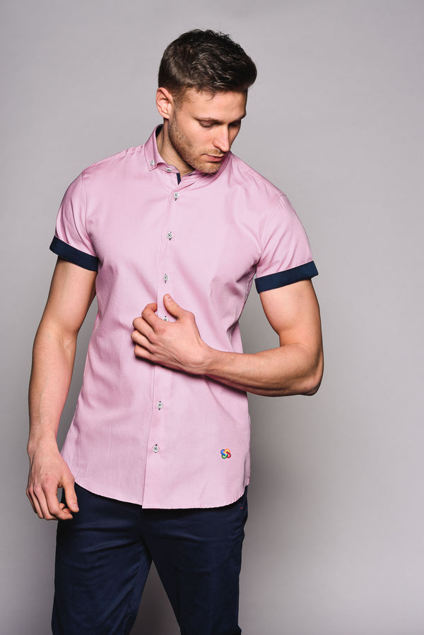 Premium Oxford Short Sleeve Shirt - DYER - Pink
