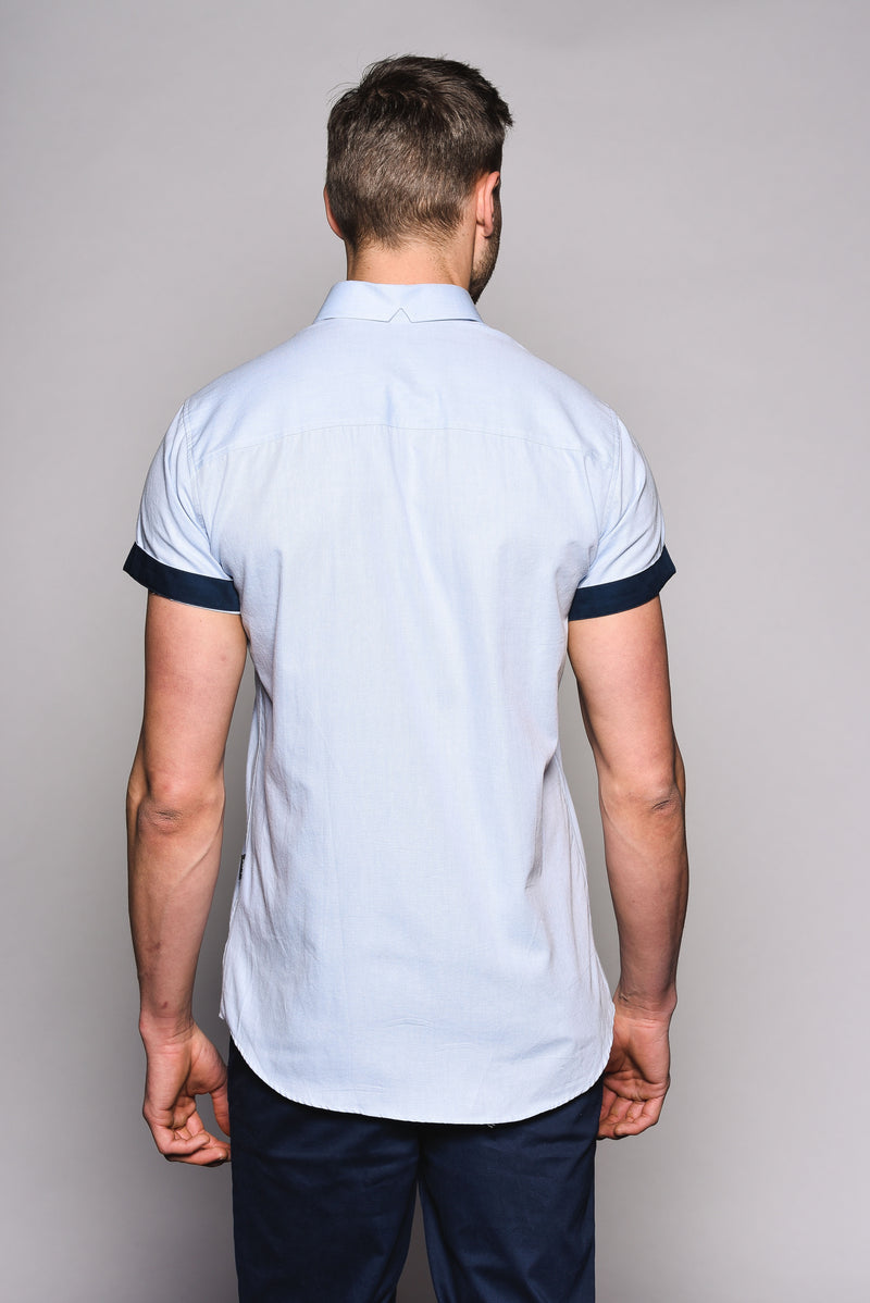Premium Oxford Short Sleeve Shirt - DYER - Sky
